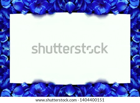 white background surrounded by royal blue flowers #1404400151