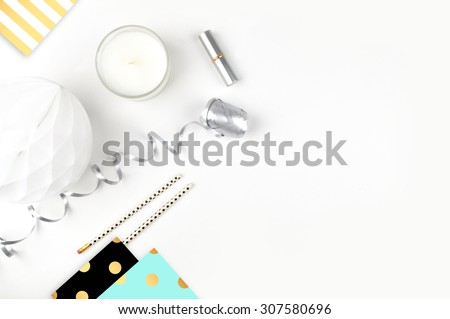 white background table, view table mockup, accessories modern,