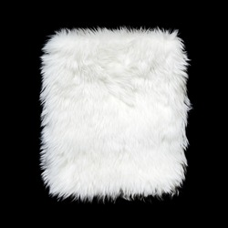 White background texture Artificial Fur Square shape on black color, Die cut isolated.