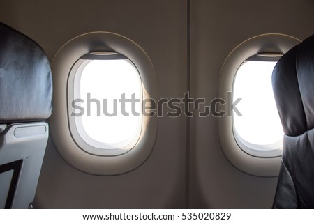 white background windows inside an aircraft #535020829