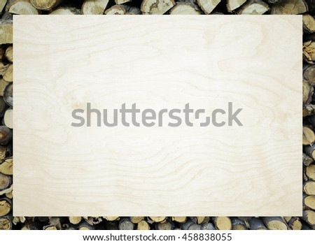 White background with a frame in the form of firewood  - Shutterstock ID 458838055