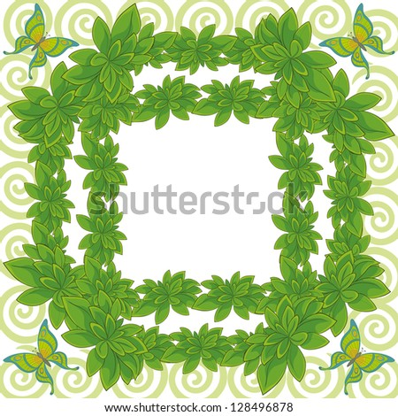 White background with a frame of fresh leaves of plants, butterflies and spiral.