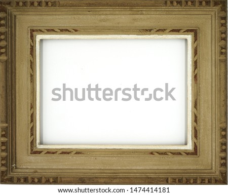 White background with a wooden frame For making a picture frame