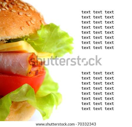 White background with big colorful hamburger