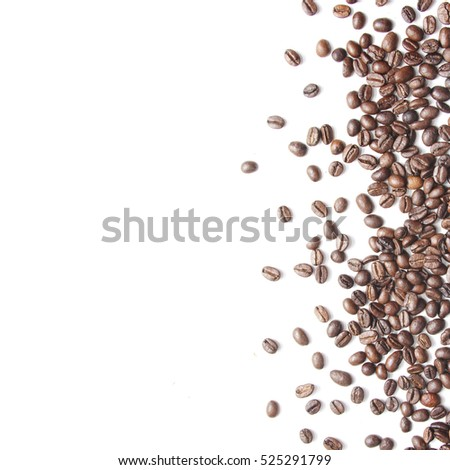 White background with coffee beans on the side #525291799