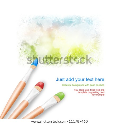 White background with three paintbrushes painting a bright worldmap. Global communication concept