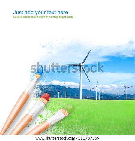 White background with three paintbrushes painting beautiful wind turbines. Ecological power concept