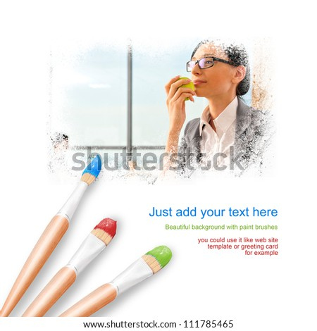 White background with three paintbrushes painting portrait of beautiful young business woman