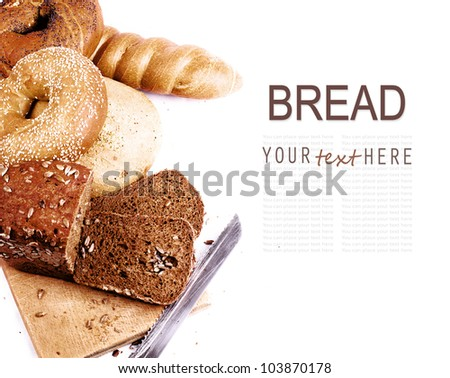 White Background with  various kind of fresh bread