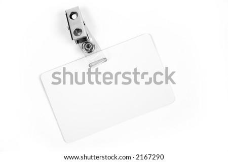 White badge ID isolated against white background