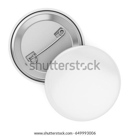 white badge pin brooch mock-up. 3d render