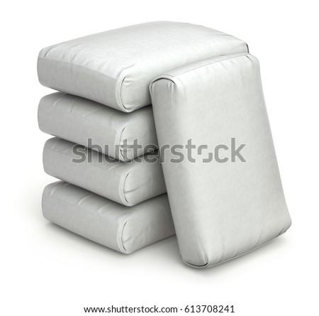 White bags on white background - 3D illustration