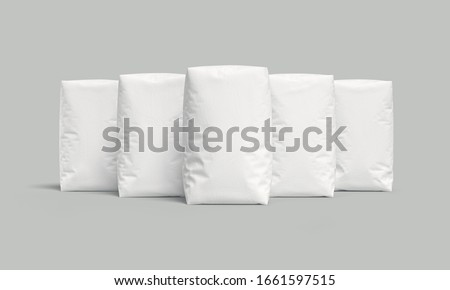 White bags or sacks isolated on light background. Mockup for design. 3d render Stock photo ©