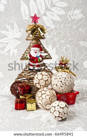 White ball of nature bark and Christmas Tree