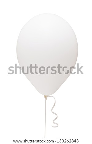 White balloon matt. Romantic love emotions. Girls party decoration classic. Studio shot. Isolated path and on white background #130262843