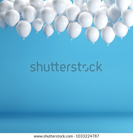White balloons floating in blue pastel background room studio. minimal idea creative concept. #1033224787