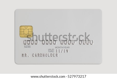 White bank credit card isolated on white background #527973217