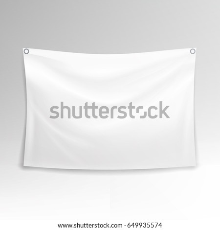 White Banner. Realistic Horizontal Rectangular Advertising #649935574