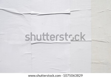 white bare blank clean natural wrinkled creased paper poster texture, layers glued on top of each other with wallpaper paste