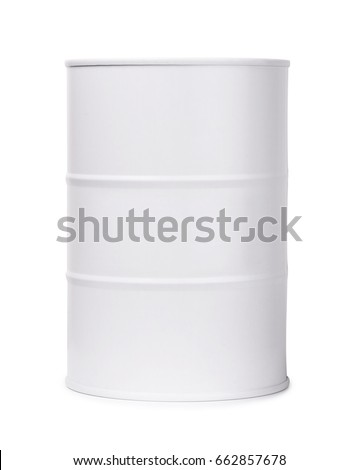 White barrel of fuel or chemicals isolated on a white background
