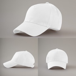 White baseball cap in three different angles views isolated on gray background. Mock up.