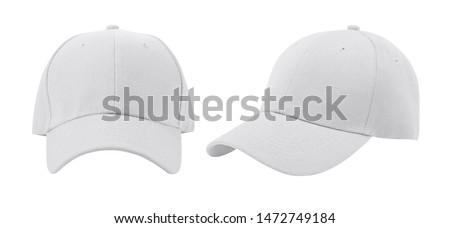 White baseball cap isolated on white background. Foto d'archivio ©
