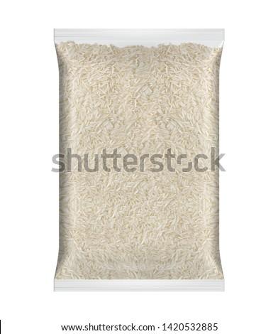 White Basmati Rice. Rice Packaging. Basmati White Rice Packaging on white Background