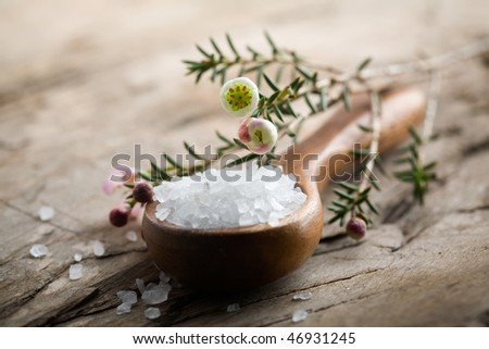 White bath salt on wooden spoon, shallow focus