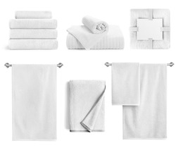 White bath textile items set isolated. Cotton terry towels- hanging, folded, stacked and packed against white background.