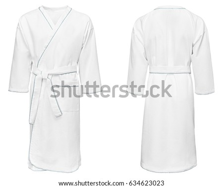 white bathrobe for home, isolated white background.