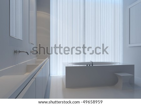 White bathroom in cold light