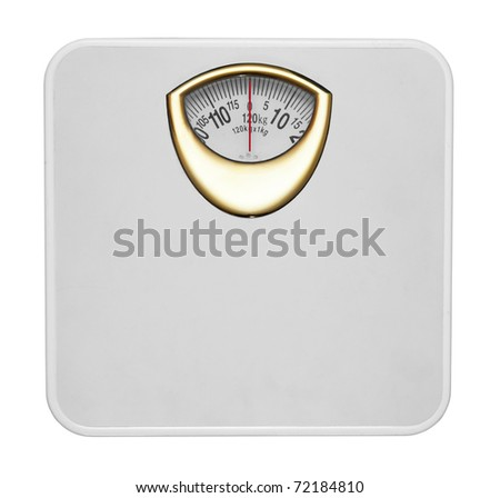 White bathroom scale isolated in white background