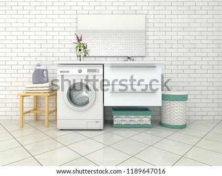 White bathroom with washing machine. 3d illustration #1189647016