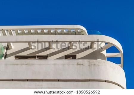 Photo of  White bauhaus style building exterior detail view, tel aviv, israel