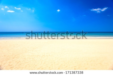 white beach,  clear sea and blue sky #171387338