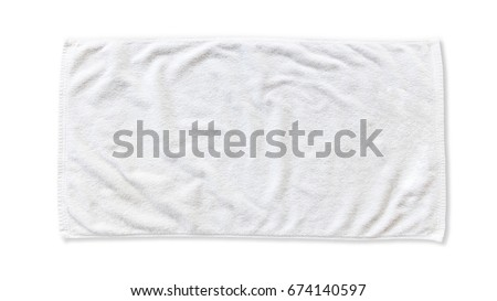 White beach towel mock up isolated on white background, flat lay top view