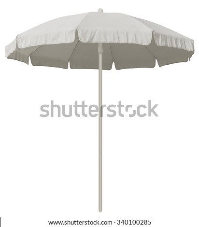 White beach umbrella isolated on white. Clipping path included. #340100285