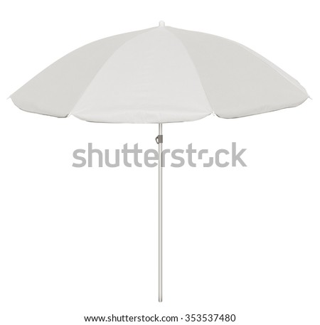 White beach umbrella isolated on white. Clipping path included. #353537480