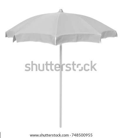 White beach umbrella isolated on white. Clipping path included. #748500955