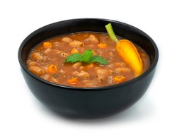 White Bean Soup for Breakfast,Lunch and Dinner Cooked like as like Moroccan Bean Vegan Stewed or Tradditional Mediterranean European Food Style decorate with Carved Carrot sideview