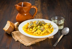 White beans with clams, typical Spanish food