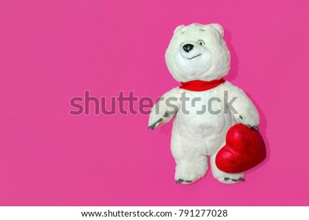 White Bear with red Heart, love concept Valentine's day #791277028