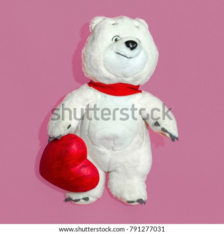 White Bear with red Heart, love concept Valentine's day #791277031