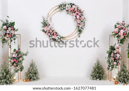 White Beautiful Floral Pattern Wedding Backdrop Background. Wedding Ceremony, Marriage, Celebration, Reception, Special Occasion Event, Venue, Wedding Planner, Organizer and Wall Decoration Concept. Сток-фото ©