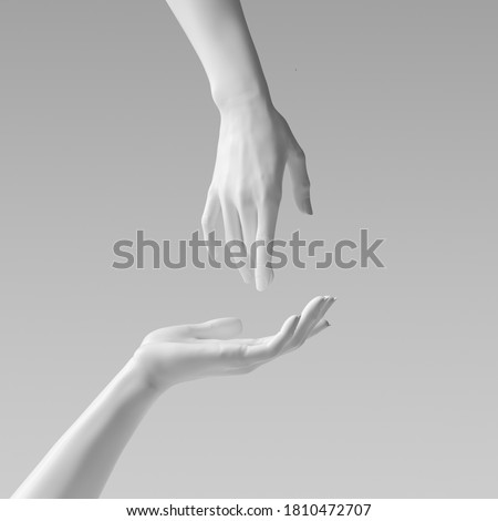 White beautiful woman's hand sculpture isolated on yellow background. Palm up showing and presenting female art creative concept banner, mannequin arm 3d rendering