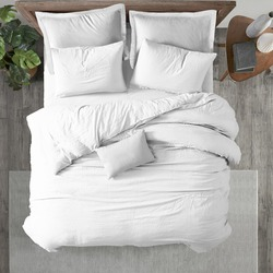 White bed duvet cover ısolated. Bedroom view from top