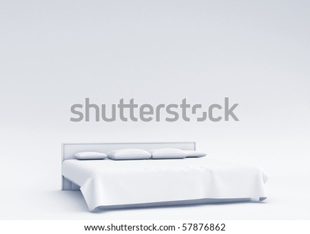 White bed in empty space - stock photo