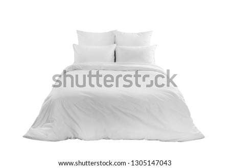 White bed isolated, white bed linen isolated, bed with pillows an duvet isolated