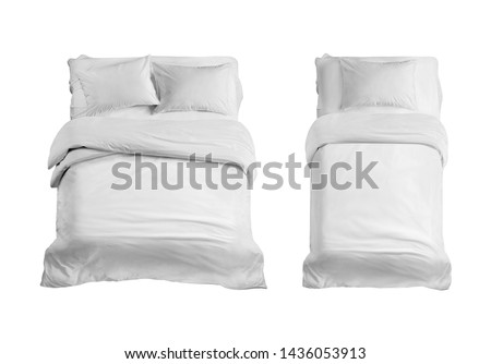 White bed top view isolated. Double and single bed with bedding isolated in the white background. Bed linen on the bed against the white background.