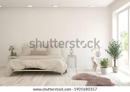 White bedroom interior. Scandinavian design. 3D illustration Foto d'archivio ©